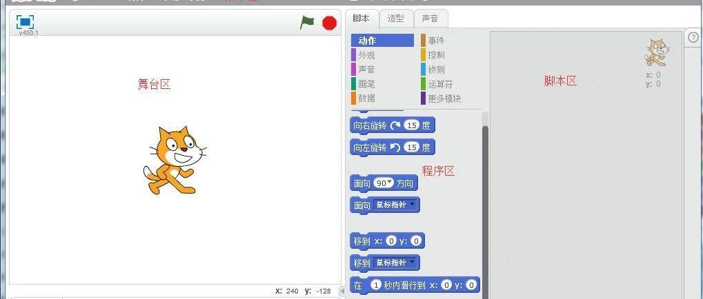 Scratch编程入门,软件界面及各区域的作用