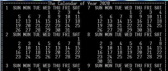 C语言程序经典示例----(12)编制万年历